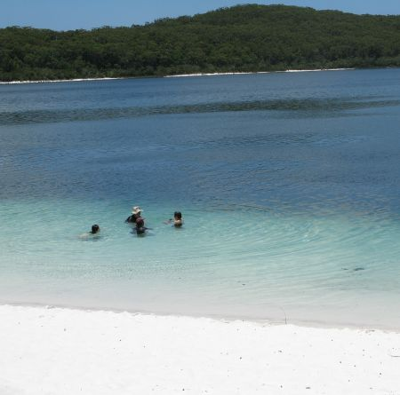Swimming on Fraser Island