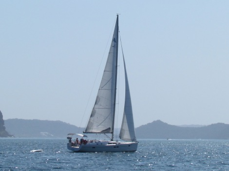 A yacht sailing past